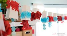 Turquoise, red, and white birthday party decor - DIY