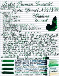 ParkerPenmanEmerald wow this is gorgeous. Calligraphy Worksheet, Calligraphy Letters, Caligraphy, Fountain Pen Ink, Cute Doodles, Penmanship, Handwriting, Stationery, Ink Cartridges
