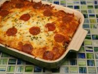 Crustless Pizza  ■1 cup Crumbled Sausage   ■1/2 lb Pepperoni, sliced   ■3 slices Ham, Diced   ■1 cup Mushrooms   ■1/2 cup Black Olives, sliced   ■Marinara Sauce, one full recipe   ■1 cup Pizza Cheese (mixture of mozzarella, provolone and cheddar)  Put stuff in pan, top with sauce.  Bake for 45 minutes at 400