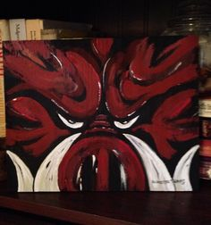 A personal favorite from my Etsy shop https://www.etsy.com/listing/256578465/original-arkansas-razorback-painting-8-x