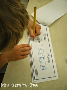 stamp and write word activities. Use for color, number, sight words or names.