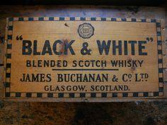 Vintage 'Black & White' Scotch Whiskey Wood Crate.