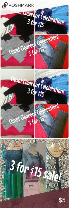 💝 3 for $15 sale! 💝 Pick any 3 items $8 or under in our closet... bundle... & make an offer for $15! I'll accept! Sale runs till Tuesday! Happy Poshing! Other