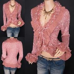 Fabulous Pink Ruffles Fluffy Fringes Tie Front Cardigan Sweater Jacket