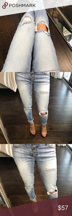 """3️⃣LEFT//NOT YOUR BF's Jeans NOT YOUR BF's Jeans. These jeans are TO DIE FOR! These are a true """"girlfriend"""" style jean. Not as loose & baggy as your typical boyfriend (hence the name 😉) but not as tight as your everyday skinny. These truly go effortlessly with any shoe and top. Adorable 4 button closure and the perfect amount of distressing. Great quality denim. My fav!  Material: 98% cotton/2% spandex  Rise: 8.5"""" Inseam: 27"""" (after 1.5"""" double fold) Fit:  TTS. I'm a true size 1, modeling…"""