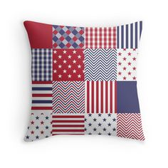 'USA Americana Patchwork Red White & Blue Quilt' Throw Pillow by podartist Cheap Pillows, Blue Quilts, Red White Blue, Home Textile, Pillow Cases, Canvas Prints, Throw Pillows, Summer Trends, Minimalist