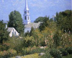 """Hollyhocks Garden, Mystic, Connecticut,"" Joseph Eliot Enneking, ca. 1915, oil on canvas, 25 x 30"", private collection."