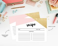 Instant Download Corners Bridal Shower Recipe Cards by fineanddandypaperie