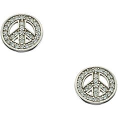 J Weber Pave Crystal Peace Sign Stud Earrings (77 AUD) ❤ liked on Polyvore featuring jewelry, earrings, diamond, fashion jewelryearrings, crystal jewelry, crystal earrings, crystal flower earrings, sparkly earrings and peace symbol earrings