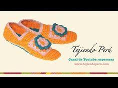 Cómo tejer pantuflas con cuadrado con flor a crochet (granny square)
