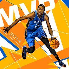 Kevin Durant '2014 MVP' Illustration - Hooped Up