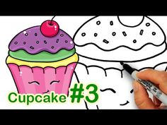 videos of how to draw a cartoon cupcake
