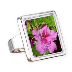 Mom Pink Flower Fashion Square Ring