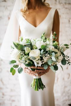 minimal greenery eucalyptus and white roses wedding bouquets wedding bouquet Modern Minimalist Green Wedding Ideas for The Simple + Chic Bride White Roses Wedding, Rose Wedding Bouquet, White Wedding Bouquets, Floral Wedding, Wedding Colors, Wedding Dresses, Casual Wedding, Bride Bouquets, Wedding Greenery