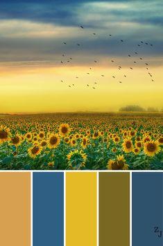 ZJ Colour Palette 1195 #colourpalettes #colourinspiration Colour Pallette, Colour Schemes, Color Combos, Sunflower Colors, Color Balance, Colour Board, World Of Color, Color Stories, Color Swatches
