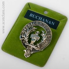 Buchanan Clan Crest Pewter Badge. Free worldwide shipping available