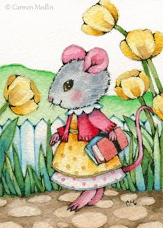 """School Morning"" cute mouse art by Carmen Medlin. 5x7"" print, $4.75"