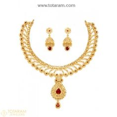 22K Gold Necklace & Drop Earrings Set with Uncut Diamonds - 235-DS509 - Buy this Latest Indian Gold Jewelry Design in 70.000 Grams for a low price of  $7,072.99