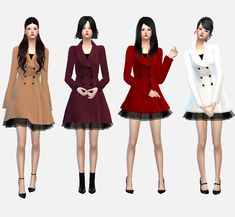 sims4-marigold: winter coat with skirt... | LuxySims