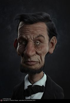 Abe Lincoln Caricature realism.  #art #design #illustration #posters #abrahamlincoln