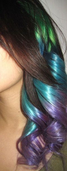#metallic #green #blue #purple #brown #hair
