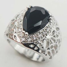 Umenala Sterling Silver Plated Rings Onyx