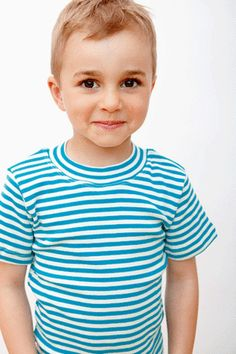 Summer pajamas in 100% organic cotton. Blue carribe/natural stripe. Sizes 9/12 mos. to Youth 12.