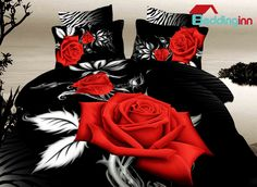 #rose #beddingset #beddinginn  Buy link>>>http://urlend.com/rmi6Bbi http://www.beddinginn.com/product/Bright-Red-Rose-With-Black-Ground-Print-4-Piece-Duvet-Cover-Sets-11308779.html
