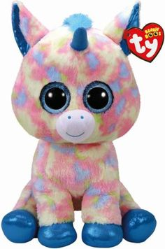 Blitz is a magical unicorn with multicolour fur! Blitz is part of the popular TY Beanie Boo range and sits tall! With big sparkling eyes and super-soft fur she will be a great addition to anyone's Beanie Boo collection. Ty Beanie Boos, Beanie Boo Party, Beanie Babies, Large Beanie Boos, Ty Peluche, Ty Stuffed Animals, Ty Toys, Cute Beanies, Blitz