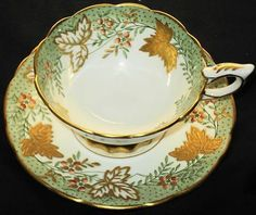 ROYAL STAFFORD BERRY SAGE GREEN GOLD ETCH TEA CUP AND SAUCER