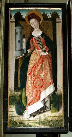 no info, will investigate later. Shutters possibly painted by the master of the St. Italian Renaissance Dress, Renaissance Art, Medieval Fashion, Medieval Clothing, Medieval Costume, Medieval Art, 15th Century Fashion, Saint Barbara, Dark Ages