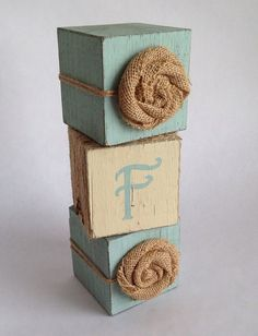 Shabby Chic Nursery Decor, 3 Piece Block Set with Mongram and Burlap Flowers, Unique Personalized Gift for New Baby Girl, Rustic Baby Blocks on Etsy, $39.00