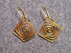 Simple square earrings - How to make wire jewelery 226