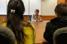 Tammy speaks with student leaders at Lawrence University in Appleton