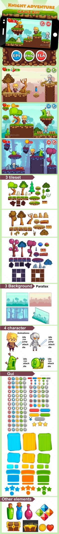 Knight Adventure Game Kit - Game Kits Game Assets | Download http://graphicriver.net/item/knight-adventure-game-kit/13431568?ref=sinzo
