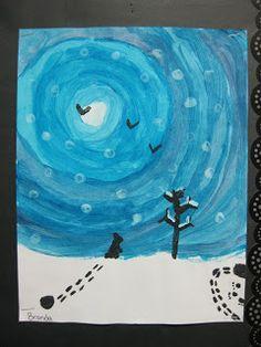 Terri's Teaching Treasures: Winter Wonderland Art-- use when reading Owl Moon Classroom Art Projects, Art Classroom, Classe D'art, Art Et Nature, Winter Art Projects, 4th Grade Art, Kindergarten Art, Winter Fun, Elementary Art