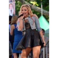 Demi Lovato in TopShop Moto Spike Denim Jacket Denimology ❤ liked on Polyvore