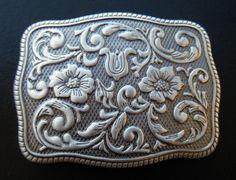 Grey Flowers Western Cowgirl Antique Silver Belt Buckle