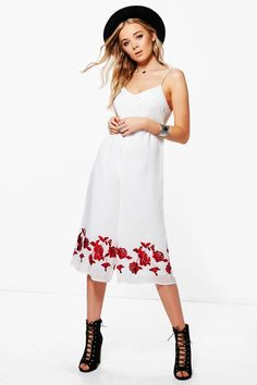 Helen Embroidered Culotte Jumpsuit