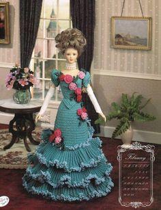 February 1995 Calendar Bed Doll Crochet Pattern Book Annies Attic Barbie Clothes #AnniesAttic