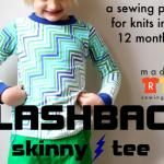 This skinny tee is my favorite pattern so far! The Flashback Tee is a not-too-tight (but definitely fitted) skinny tee sewing pattern for knits in sizes 12 months - Sewing Kids Clothes, Sewing For Kids, Baby Sewing, Diy Clothes, Kids Patterns, Sewing Patterns, Shirt Patterns, Sewing Tutorials, Sewing Projects