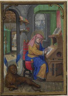 Saint Marc dans son scriptorium - Hennessy Book of Hours - miniaturist: Simon Benning - Flanders, 1530-1540 - Bruxelles, Bibliothèque royale Albert Ier, ms. II 158