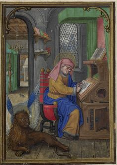 Saint Mark in his scriptorium;  Hennessy Book of Hours - miniaturist: Simon Benning - Flanders, 1530-1540