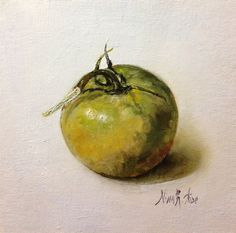 Tomato Green Original Oil Painting by Nina R.Aide Still Life Kitchen Art Canvas 6x6 Small Daily Painting Home Wall Decor