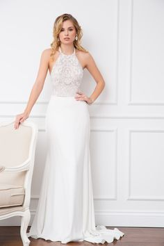 Stefani bodice and Valerie skirt - Wendy Makin Bridal. Halter neck bodice / floaty skirt / flowy skirt / bridal separates.