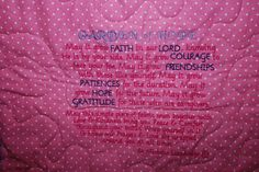 My Garden of Hope Poem Embroidered onto comfort quilt