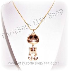 NECKLACE Gold Style Punk Big Eye UFO Alien Movable by EerieBeth