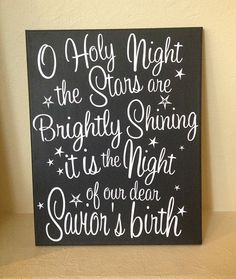 O Holy Night 11x14 Painted Canvas Christmas Wall Art