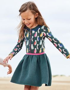 Knitted Party Dress in Pine Multi Owls | Mini Boden