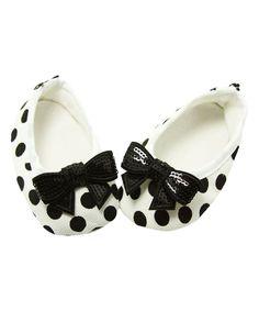 Black & White Polka Dot Sequin-Bow Bootie